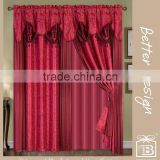 10 minites Replied Beautiful Polyester Burgundy 2 PCS Living Room Blackout Curtains With Valance