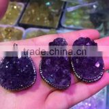 Natural amethyst crystal cluster pendant for gift