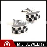 Classic black white two tone austria crystal metal silver men's cufflinks