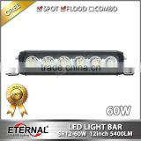 12in 60W marine light bar boat working bar light motorcycle car automotive grill high power working spot flood lamp