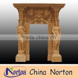 artificial carved flowers and figures marble door frame NTMF-D053
