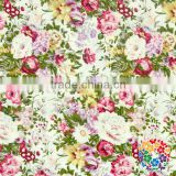 Rose flower printed posh designs fabrics wholesale price fashion 100 % soft cotton fabric