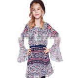 2017 Baby Girl Party Dress Children Frocks Designs Fashion Boho Long Sleeve Easy Style Printed Dresses Clothing Company For Kids