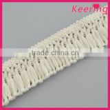 Wholesale hot sale white cotton fringe lace with bullion WLCA-004