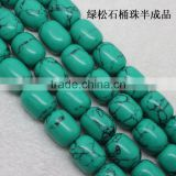 Turquoise barrel beads semi-finished strand diy turquoise Loose barrel bead for Jewelry Accessory
