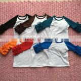 multiple colors choose baby girl blouses triple icing ruffles 3/4 sleeve baby raglans t-shirt