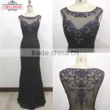 OEM Long Floor-length Sheath/Column Black Evening Dress