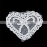 Polyester Appliques Patches DIY Scrapbooking Craft Heart White Bowknot Pattern Embroidery Sew On Badge Patches