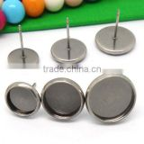 8-14mm Antique Silver Round Ear Studs Blank Base Earring Tray For Cabochon Bezels Setting
