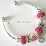 Wholesale Pink tone heart different charming bracelet/heart charm cuff open bracelet/silver plated chain bracelet