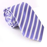 Dots Silver Mens Silk Necktie Handmade Striped