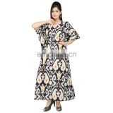 Beach Wear Plus Size Summer Wear Women's Casual Wear Full Length 100%Cotton Shirt Maxi Dress Long Kaftan Sexy Stylish Kaftan
