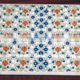 Indian Marble Inlay Table Top , Stone Pietra Dura Marble Table Top
