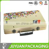 2015 new designed metal tin decorative suitcase with plastic handle and lock with cheap price
