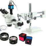 Industrial Stereo Video Microscope Zoom trinocular Industrial Microscope+14MP Camera +144pcs Led Microscope