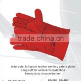 RS SAFETY long red cow split leather welding glove manufacturer