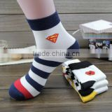 New wholesale cartoon socks Superman striped men's socks colorful cotton sport ankle socks