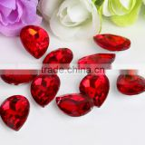 Red AAA Quality Wholesales Point Back Loose Shapes Teardrop Crystal Glass Beads for Jewelry Making Decorating Cheap