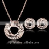 Fashion Pendientes Austrian Crystal Circle Jewelry Sets Party Gold Pendant Necklace Drop Earrings Set