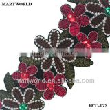 handmade embroidery stone trim for Indian saree (YFT-072)
