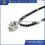 BN16001 Fashion Men's Jewelry Stainless steel skull crystal pendants beads necklace
