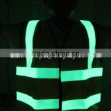 photoluminescent safety vest/glow in the dark vest/glow and reflective safety vests