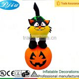 FREE SHIPPING HALLOWEEN BLACK CAT W/PUMPKIN INFLATABLE LIGHTS UP AIRBLOWN TALL