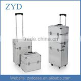 2 in 1 aluminium rolling make up case professional makeup trolley case