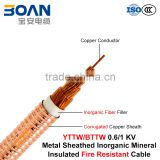 BTTW/YTTW, Fire Resistant Cable, 0.6/1 KV, 1/C, Inorganic Mineral Insulated Corrugated Copper Sheathed Cable
