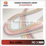 Candy color shielded 3 pin male to male aux audio cable with 3.5mm jack stereo AUX cable