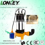 cutting sewage submersible water pump with blade, dirty water centrifugal submersible pump