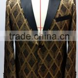 Custom made Men's Black and Gold Diamond Metallic Smoking Tuxedo Jacket with two buttons