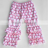 2015 new style big circle white dot colorful outfits for kids clothing design girls ruffle pants for baby girls/kids