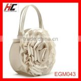 silk fabrics Champagne Pale Gold stereoscopic flower circular evening bag fashion hand bag for lady