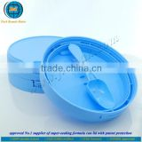 Hot sale plastic seal light blue milk powder cap with built-in scoop with FSSC 22000 certified by GMP standard plant-with patent