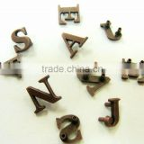 High quality alphabet metal alloy tag for garment /hand bag