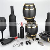 Oak barrel shaped box wine set ,Contain wine opener ,vacuum stopper , wine pourer,foil cutter ,wine collar