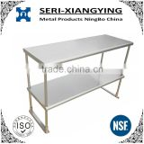NSF Approval Stainless Steel Kitchen Work Table Double Tier Overshelf/Table Mounted Shelf