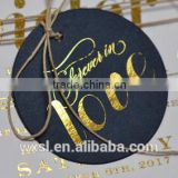 Hot sale custom black card paper hang tag/gold foil center folded swing tag                                                                         Quality Choice