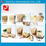 Heat sealed brown kraft paper bag for food/flat customized kraft paper food bag/recyclable paper bag