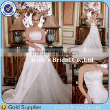 Beautiful Dress Designs Hot Sales Appliqued Bodice Satin Wedding Dresses Women