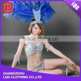 Customized roral blue headdress feather rhinestone beaded fairy princess carnival costumes