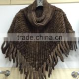 2015 hot selling factory wholesale new sexy girls knitted mink fur shawls