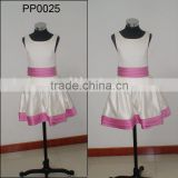 PP0025 Satin Pink And White Satin Kids Dresses For Weddings