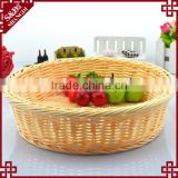 S&D Colored Plastic Rattan Bread basket , White Wicker Handmade Round Flowers Fruits Bread Picnic Gift basket