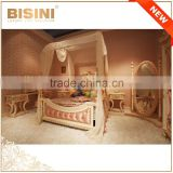 Italy Rose Carving Princess Canopy Bed/ New Design Pink Girls Bedroom Furniture/ Romatic Kids Wooden Bed