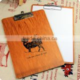 A4A5A6 Wood Clipboard with flat metal Clip Restaurant Menu Holders for coffee Catering Memo Clipboard promotion gift