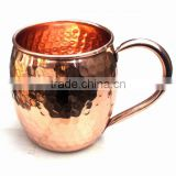 AMAZON BEST SELLING FDA APPROVED 470 ML 100% PURE COPPER BARREL HAMMERED MOSCOW MULE MUG