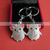 Cute pig shape metal keychain or metal keyring