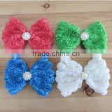 CF0730 baby girls custom wholesale pearl center chiffon rosette butterfly hair bow